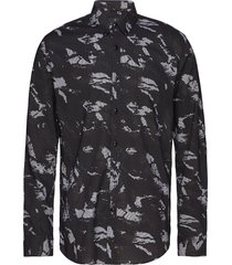 aop l/s check shirt skjorta casual svart junk de luxe