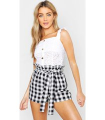 broderie anglaise button top, white