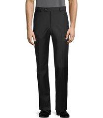 saks fifth avenue men's marzotto italian fabric-flat front wool pants - black - size 32