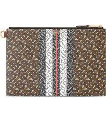 burberry monogram stripe clutch bag - brown
