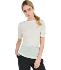 blusa manga corta casual blanco aishop