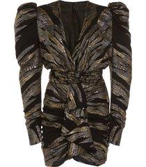 metallic deep v dress
