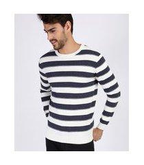 suéter masculino de tricô listrado manga longa azul