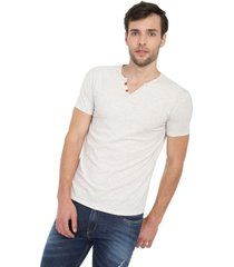 camiseta con botones de hombre licrada - marfil polovers