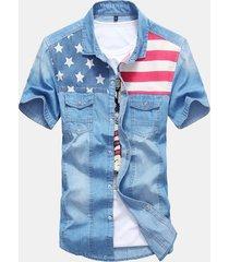 uomo casual camicia primaverile estivo in denim cotone con patchwork con bottoni