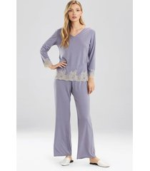natori luxe shangri-la long sleeve pajamas, women's, grey, size xl natori