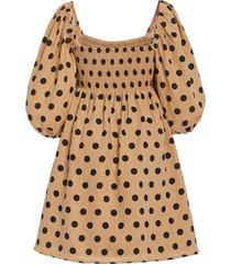 dallia smocked polka-dot linen mini dress