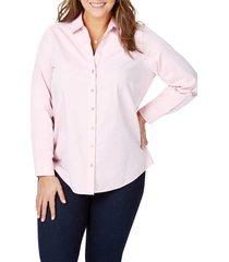 plus size women's foxcroft chrissy non-iron shirt, size 22w - pink