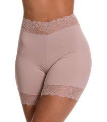calcinha bermuda estilo sedutor cintura alta em microfibra e renda - tv5034 - bege - feminino - dafiti