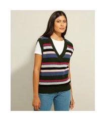 colete oversized de tricô listrado decote v multicor