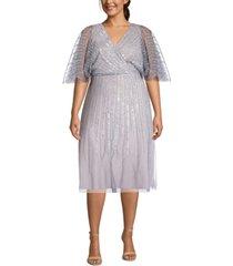 adrianna papell plus size sequin flutter-sleeve dress