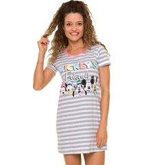 camisola manga curta feminina mickey com algodão