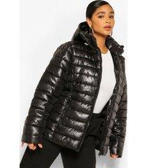 plus glanzende gewatteerde jas met capuchon, black