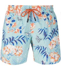 etro floral-print swim shorts - blue