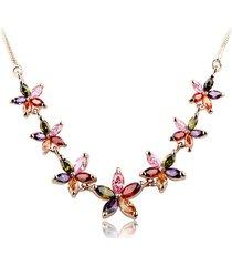 monili di lusso della collana della collana del fiore di zircon variopinti dell'oro di rose colour di lusso per le donne