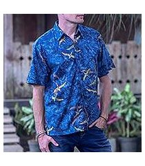 men's cotton batik shirt, 'indigo birds' (indonesia)