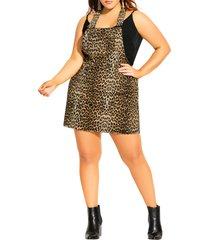 plus size women's city chic animal flair stretch denim pinafore dress