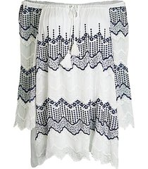 embroidered off-the-shoulder cotton tunic top