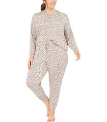 jenni plus size printed lace-up hoodie & pants pajama set, created for macy's