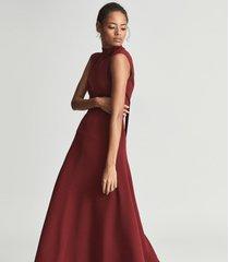 reiss livvy petite - petite open back midi dress in dark red, womens, size 12