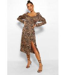 luipaardprint midi jurk met pofmouwen, geelbruin