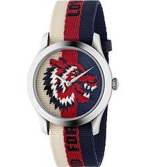 wolf stainless steel & striped nylon strap watch