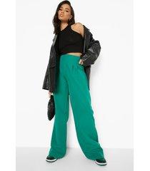 geplooide wide leg broek met hoge taille, green