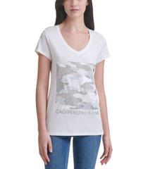 calvin klein jeans studded logo t-shirt