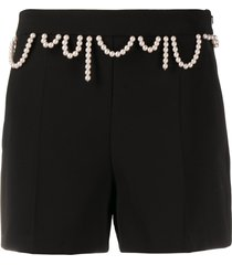 boutique moschino beaded straight leg shorts - black