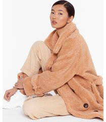 womens faux shearling longline coat with button closures - camel