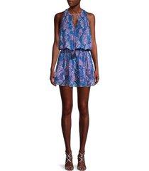 ramy brook women's kylee abstract blouson dress - navy - size l