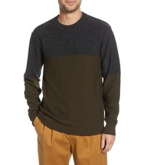 men's french connection regular fit felted wool blend sweater, size x-large - green