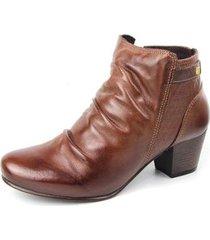 ankle boot couro sapatofran slouch perlatto feminina