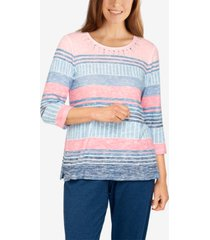 plus size relax and enjoy casual striped printed top