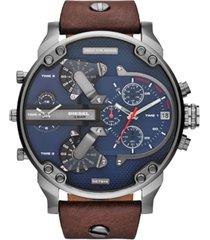 diesel men's mr. daddy 2.0 brown leather strap watch 66x57mm dz7314