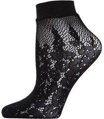 natori floral burnout net shortie socks, women's, black natori