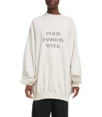 balenciaga paris fashion week oversize sweatshirt, size xx-small in cement grey/black at nordstrom