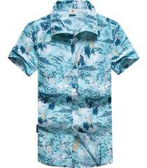 camicia estiva allentata da uomo manica corta stampa hawaiana