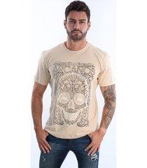 camiseta  arcanos 100% algodão orgânica reta caveira caqui - kanui