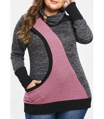 plus size turtleneck contrast sweatshirt