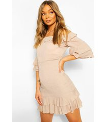 off shoulder cheesecloth mini dress, stone