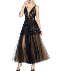 women's dress the population rachelle fit & flare lace gown