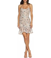 women's dress the population jill sequin floral minidress, size xx-large - pink
