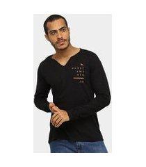 camiseta acostamento gola v manga longa masculina