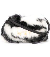 nº21 eva eco zebra-stripe fur drawstring bag - black