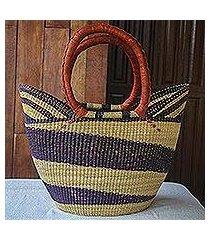 raffia basket tote bag, 'bawku blue-violet' (ghana)