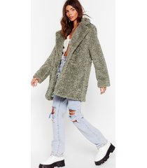 womens wait fur it faux fur longline coat - sage