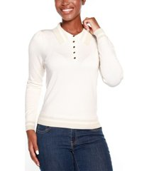 belldini black label puff sleeve button front henley sweater