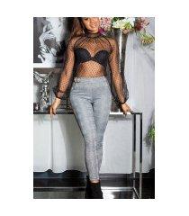 sexy skinny broek met decoratieve gesp / thermo zwartwit