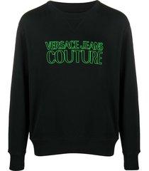 versace jeans couture logo print sweatshirt - black